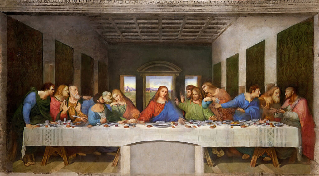 da vinci - the last supper (interpretation) essay Last supper by leonardo da vinci (figure 1, ca 1495 - 1498 ad) was painted in the fresco style with oil and tempera paints the reason the painting is in such bad condition is because da vinci was using experimental techniques on the painting.
