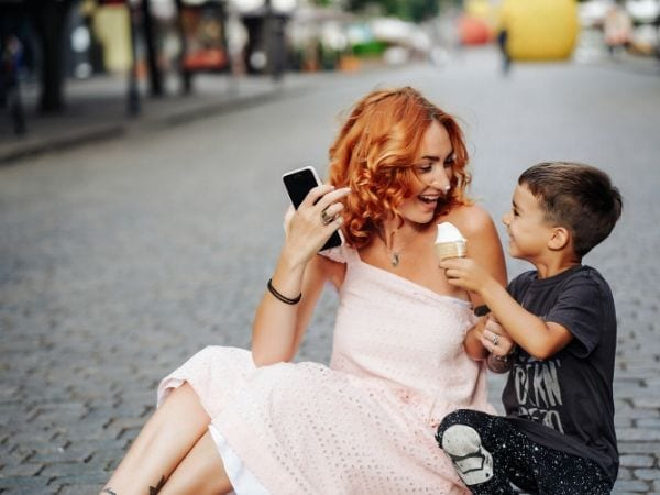 Mother and son enjoying an ice cream